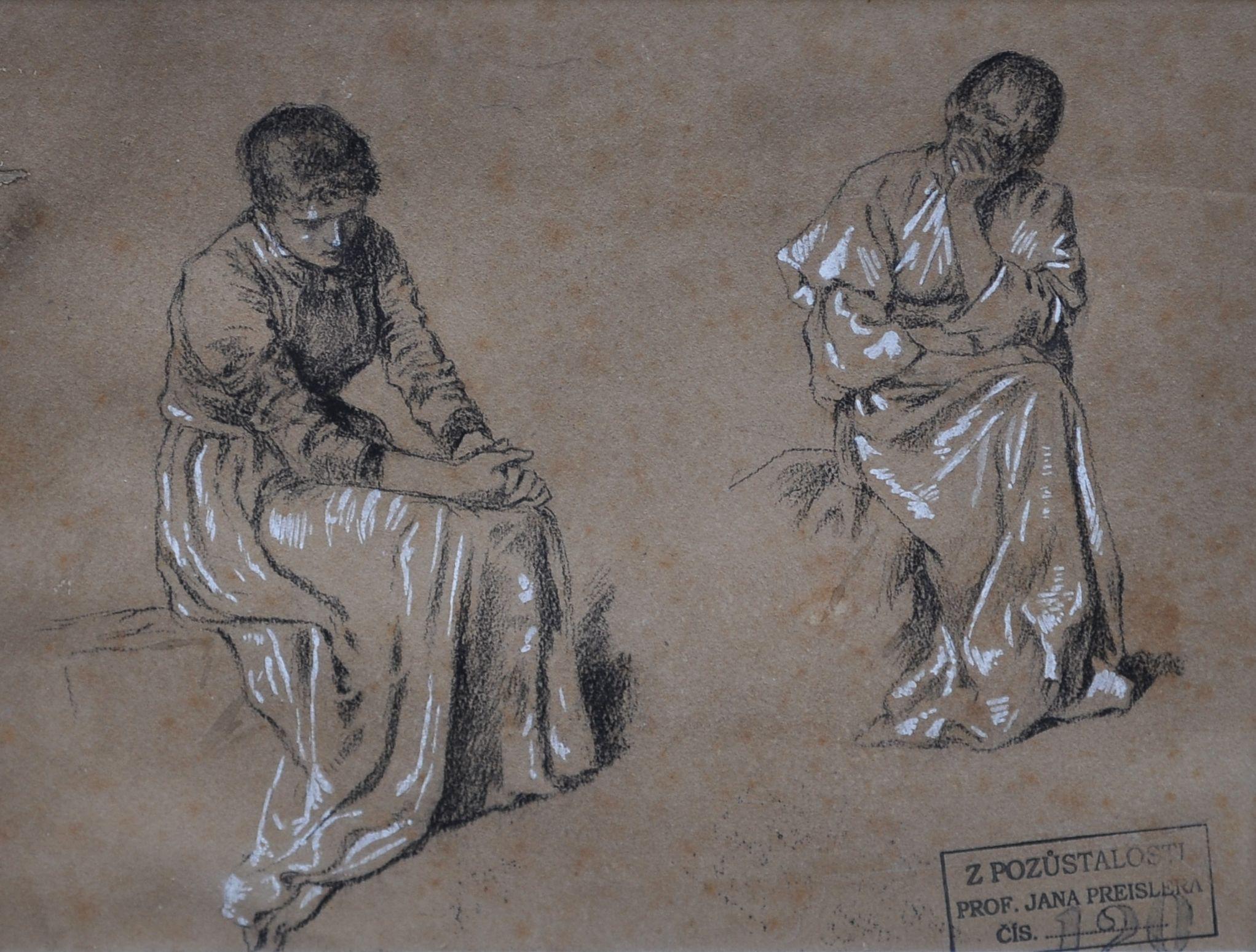 Jan Preisler 2 Zeny Studijni Kresba Czech Antiques